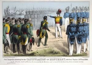 El General Pedro Ampudia pactando la capitulación de Monterrey con el General Zachary Taylor el 24 de septiembre de 1846